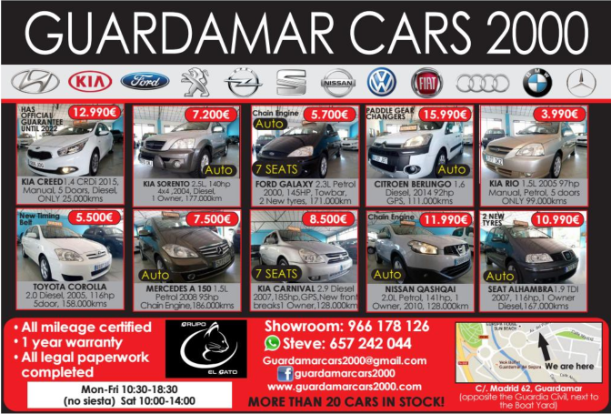 GuardamarCars2000 Costa Car Trader Ad 2017