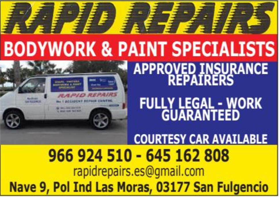 Rapid Repairs Costa Car Trader Advert